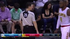 Lady with massive cleavage distracts everyone at NBA game