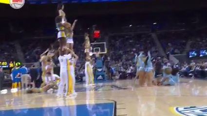 Cheerleader gets painfully dropped during routine then dropped by first aid