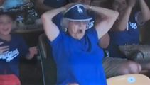 Granny Dodges fan shows her boozies on the jumbo screen