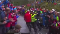 Security guard crushes spectator chasing cyclist