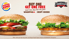Buy one get one FREE with Burger King this Summer
