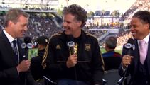 Will Ferrell goes for Ron Burgundy while announcing soccer team line-up