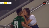 Soccer players scores goal, jumps into crowd to kisses his BOFA wife, goal gets disallowed