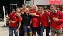 Jaco Peyper poses for picture with Wales fans appearing to mock France player Sebastien Vahaamahina