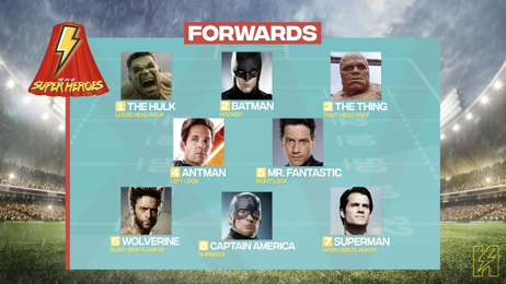 1st XV of Celebrity Chefs vs 1st XV of Super Heroes team announcements